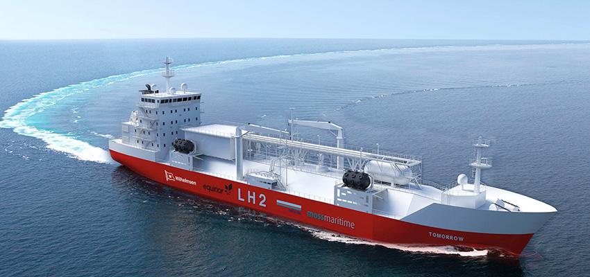 Liquefied hydrogen bunker barge designed