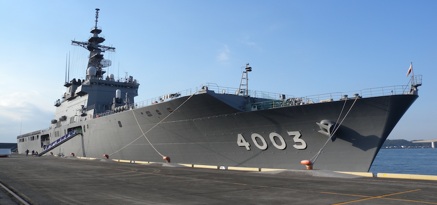 Japanese warship impacts on Brisbane dock