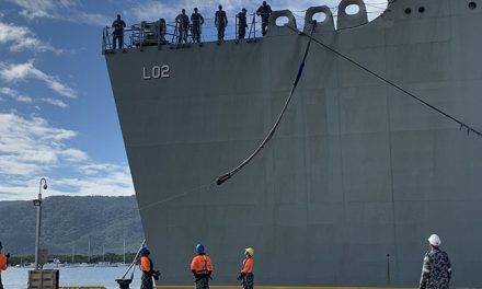 HMAS Canberra docks in Cairns