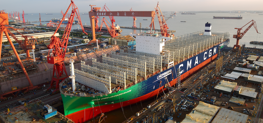 Launch of world's largest LNG-powered containership