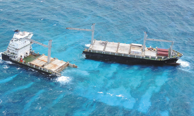 Barge arrives to help with KEA Trader removal