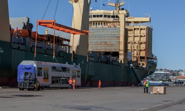 Passenger train arrives at Port of Newcastle (with video)