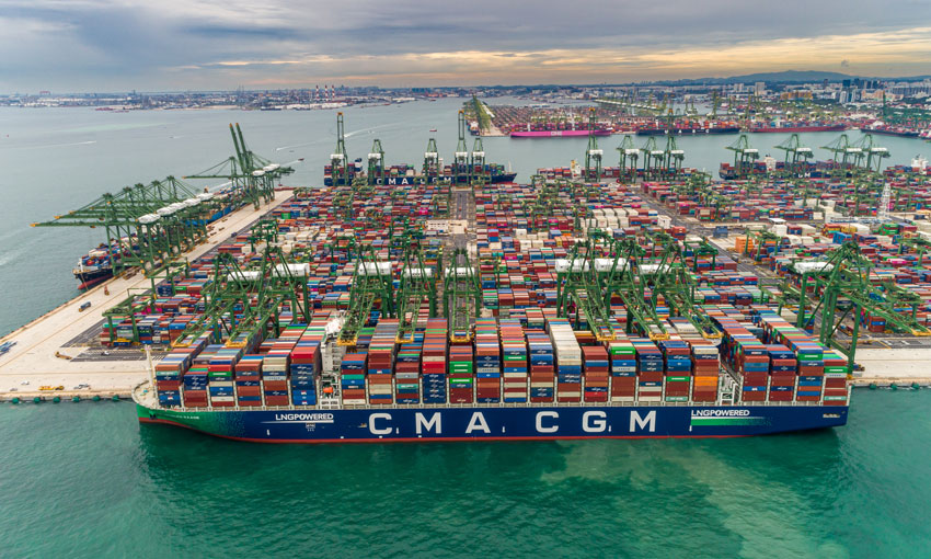 Maiden call by CMA CGM JACQUES SAADE in Singapore