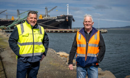 Woodchip giant visits Tassie
