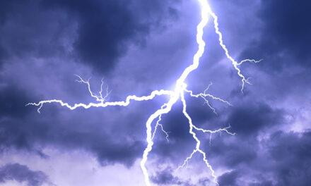 Lightning crackles off Port Adelaide