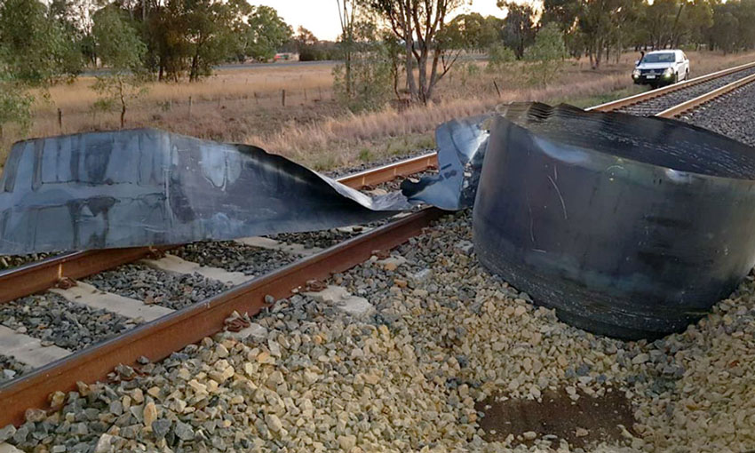 Safety warning after train hits steel coil