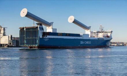 First tiltable rotor sails on ro-ro vessel