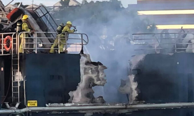 Vessel explodes, burns in Darwin