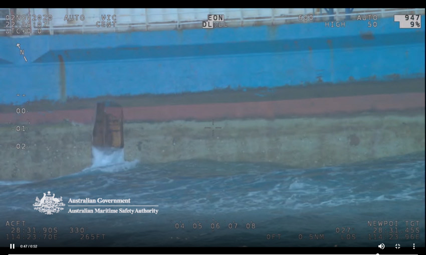 Still from AMSA Challenger footage showing a hole in Barkly Pearl's hull