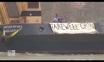 Bagpipes and twirling tugs, a grand retirement send-off (with video)