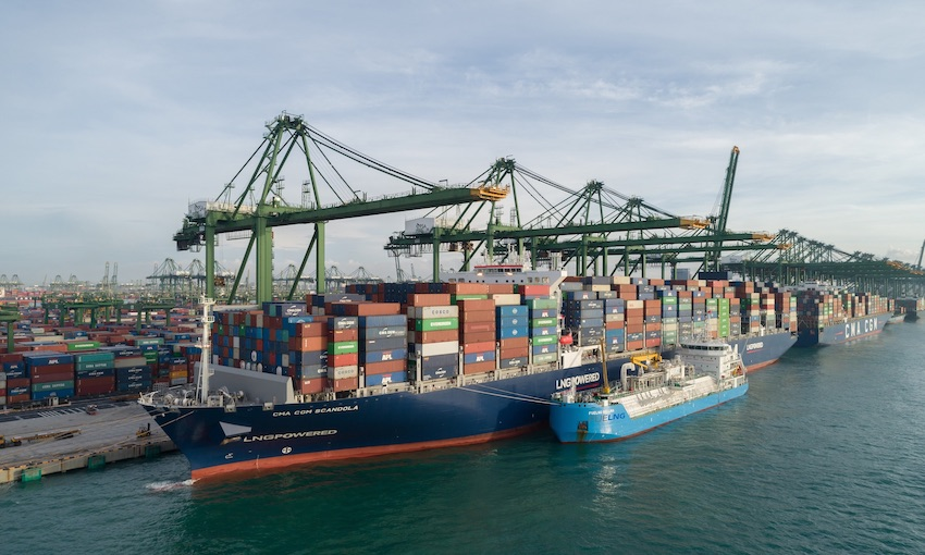 Asia's first ship-to-containership LNG bunkering