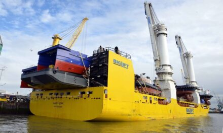 Specialist heavy lift ship delivers large cargo to Newcastle