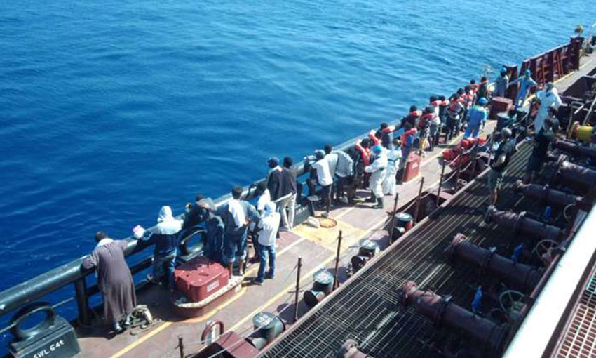 Captain and crew recognised for saving 27 at sea