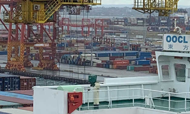 Weather topples containers at Botany