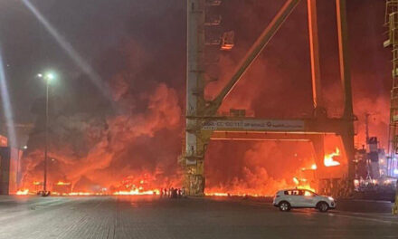 Explosion on containership at Dubai port